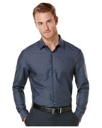 Perry Ellis - Blue Solid No-Iron Shirt for Men - Lyst