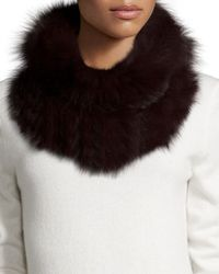 Adrienne Landau | Purple Knitted Fox & Rabbit Fur Cowl Collar | Lyst