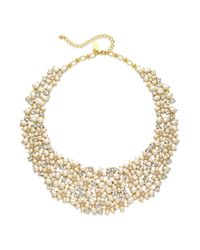 kate spade new york - Metallic New York Goldtone Imitation Pearl and Crystal Cluster Collar Necklace - Lyst