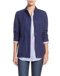 Caslon - Blue Linen Blend Utility Jacket - Lyst
