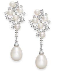 Arabella | Metallic Cultured Freshwater Pearl And Swarovski Zirconia Drop Earrings In Sterling Silver (4 & 8mm) | Lyst