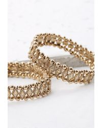 Forever 21 | Metallic Stretchy Beaded Bracelet Set | Lyst