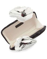 Nancy Gonzalez - Black Poppy-topped Crocodile Box Clutch Bag - Lyst