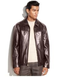 Cole Haan - Brown Smooth Leather Moto Jacket for Men - Lyst