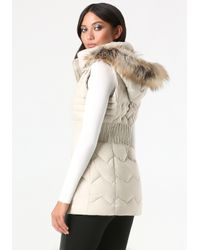 Bebe - Natural Cinched Waist Puffer Vest - Lyst