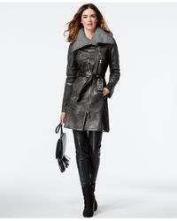 Vince Camuto | Gray Mixed-media Faux-shearling Jacket | Lyst