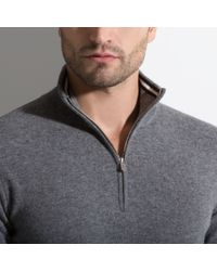 Bally | Gray Zip Neck Jumper Men ́s Wool Jumper In Grey for Men | Lyst