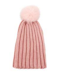 Gorski - Pink Knit Hat W/ Fur Pompom - Lyst