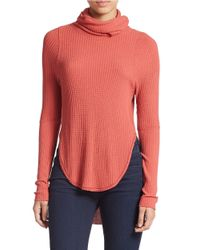 Free People | Red Hi-lo Turtleneck | Lyst