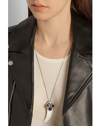 Saint Laurent - Metallic Patti Wild Silver, Boar Tooth And Onyx Necklace - Lyst