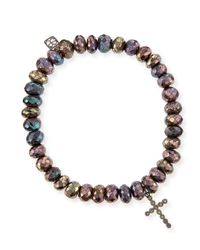 Sydney Evan | 8mm Faceted Brown Rondelle Pyrite Bead Bracelet With 14k Gold Cross Charm | Lyst