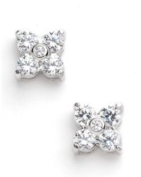 Lord & Taylor | White Platinum Plated Flower Shape Earrings | Lyst