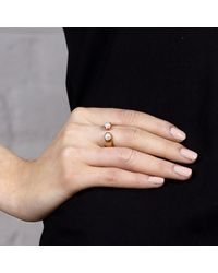 Maya Magal - Metallic Double Pearl Ring Rose Gold - Lyst