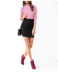 Forever 21 - Pink Essential Striped Turtleneck Top - Lyst