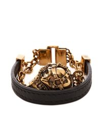 Alexander McQueen | Black Harness Skull Bracelet for Men | Lyst