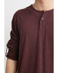Forever 21 - Purple Speckled Henley for Men - Lyst