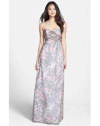 Amsale | Gray 'amore' Print Silk Chiffon Gown | Lyst