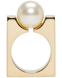 Chloé - Metallic Gold Swarovski Pearl Darcey Ring - Lyst