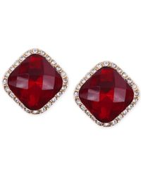 Anne Klein | Red Faux Ruby And Pave Goldtone Earrings | Lyst