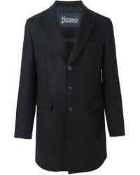 Herno - Blue Single Breasted Coat for Men - Lyst