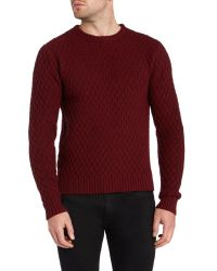 Farah - Red Heany Crew Neck Cable Knit Jumper for Men - Lyst