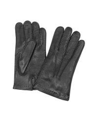 FORZIERI - Men's Cashmere Lined Black Italian Deer Leather Gloves for Men - Lyst