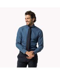 Tommy Hilfiger - Blue Cotton Poplin Slim Fit Shirt for Men - Lyst
