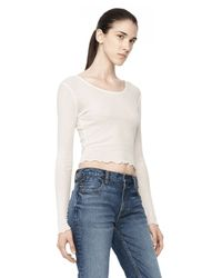 Alexander Wang - White Cropped Long Sleeve Ruffle Tee - Lyst