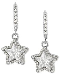 Betsey Johnson | Metallic Silver-tone Glass Crystal Star Drop Earrings | Lyst