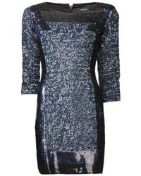 French Connection - Blue Sequin Fitted Dress - Lyst