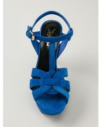 Saint Laurent - Blue Tribute Suede Sandals - Lyst