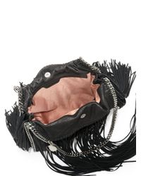 Stella McCartney - Black Falabella Baby Bella Metallic Fringed Faux Suede Shoulder Bag - Lyst