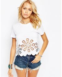ASOS | White T-shirt With Floral Cutwork And Embroidered Hem | Lyst