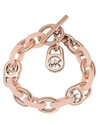 Michael Kors | Pink Logo-lock Charm Bracelet | Lyst