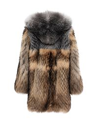 Burberry - Brown Oversized Mixed Fur Duffle Coat - Lyst