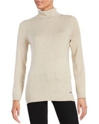 Calvin Klein | Natural Textured Knit Turtleneck Sweater | Lyst