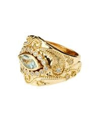 Aurelie Bidermann - Cashmere Aqua Marina And Diamonds Yellow-gold Ring - Lyst