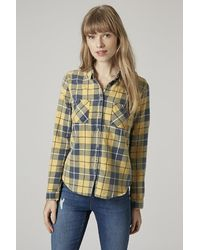 TOPSHOP | Yellow Checked Shirt | Lyst