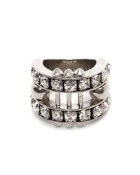 Alexander McQueen - Metallic Crystal Bar Skull Ring - Lyst