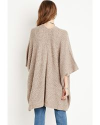Forever 21 - Brown Draped Open-front Cardigan - Lyst