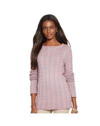 Ralph Lauren - Purple Cable-knit Cotton Sweater - Lyst