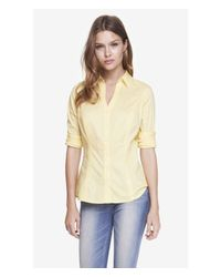 Express | Yellow Fitted Long Sleeve Essential Shirt | Lyst