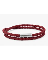 Tateossian | Double Wrap Slim Pop Bracelet In Red Leather With Silver Clasp for Men | Lyst