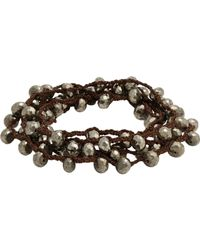 Feathered Soul | Gray Pyrite Bead & Braided Silk Wrap Bracelet-silver for Men | Lyst