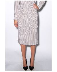 Band of Outsiders - Gray Striped Silk Crepe Skirt - Lyst