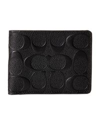 COACH | Black Double Billfold Wallet In Signature Crossgrain Leather for Men | Lyst