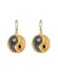 Satya Jewelry - Black 'yin Yang' Drop Earrings - Lyst