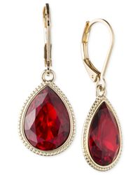Nine West - Gold-tone Red Stone Drop Earrings - Lyst