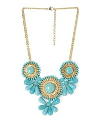 Forever 21 - Metallic Beaded Medallion Bib Necklace - Lyst