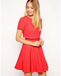 ASOS - Orange Crepe Crop Skater Dress - Lyst